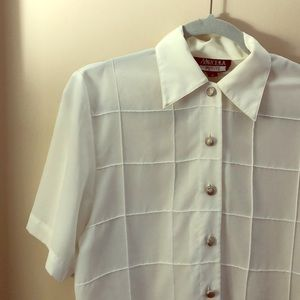 Silky Square Pattern Blouse